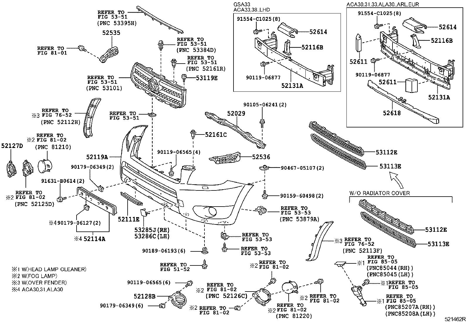 toyota rav4aca38l-anpxk - body - front bumper bumper stay | japan parts eu  japan parts eu