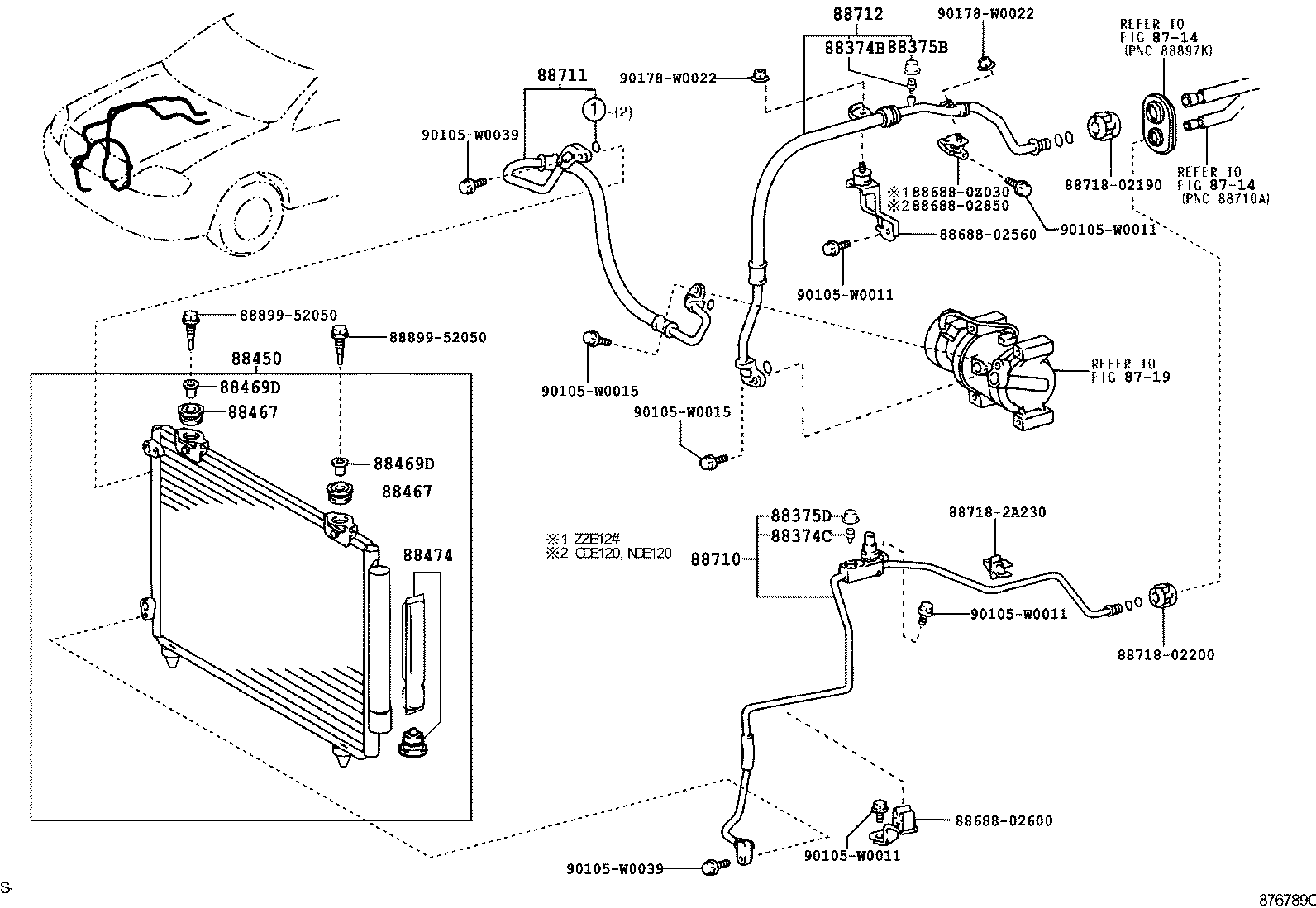 8718_heating Air Conditioning Cooler Piping on Toyota Rav4 Parts Diagram