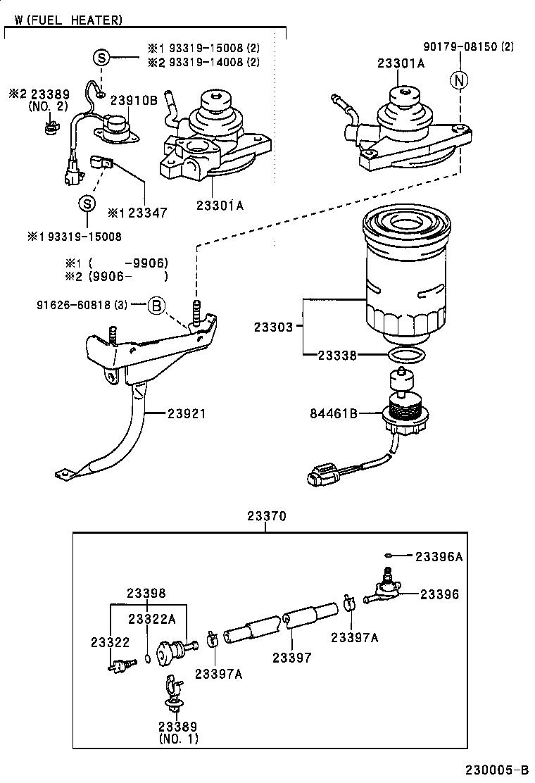 B on 1996 Toyota Tercel Fuel Filter