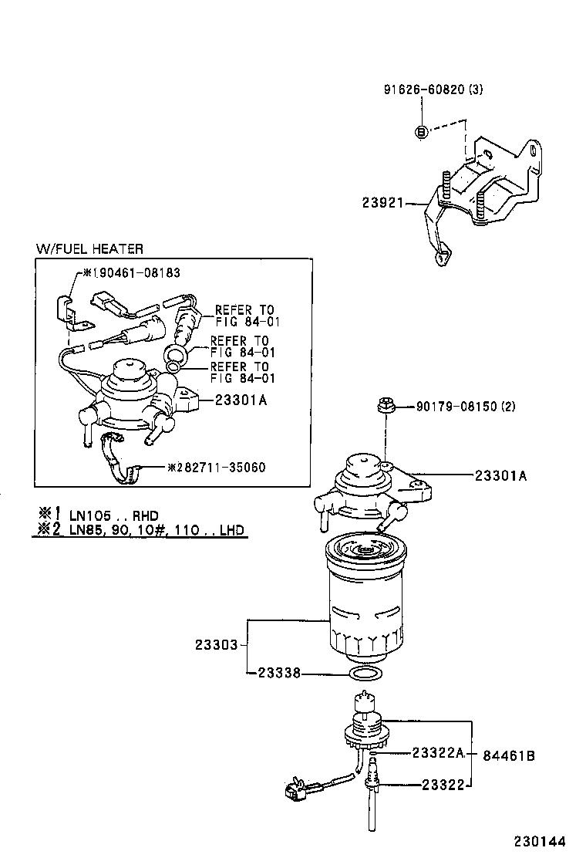 on 1995 Toyota Tercel Fuel Filter