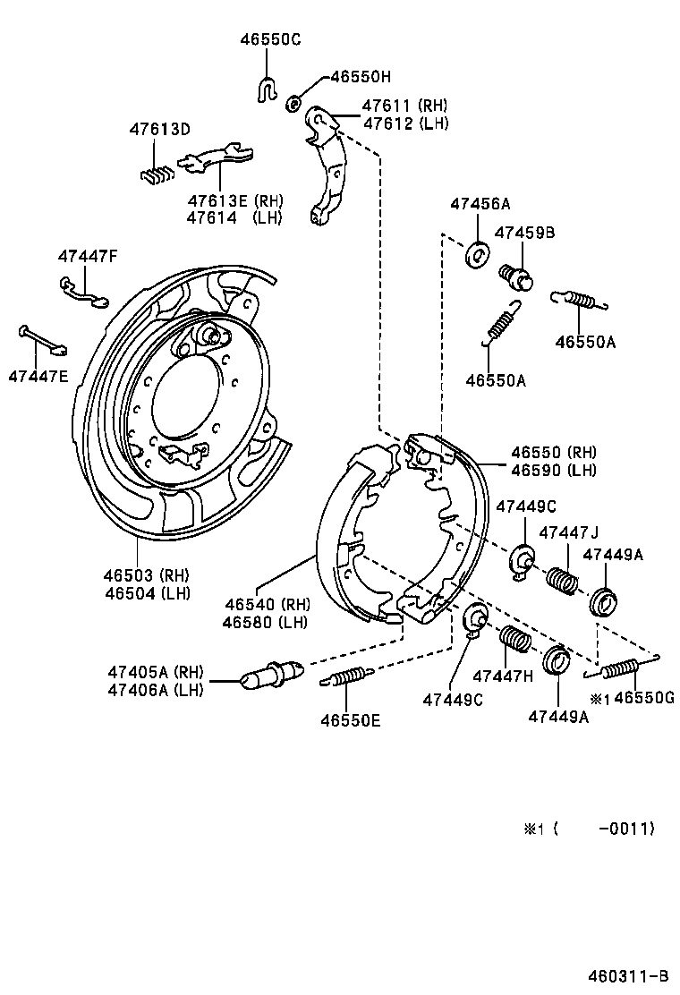 Location Of Handbrake Shoe Adjuster top Or Bottom  Toyota