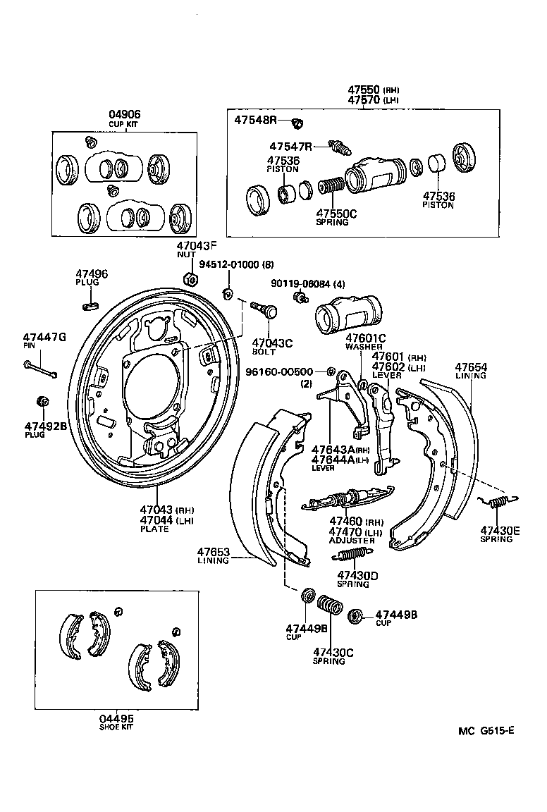 98 4runner rear drum diagram