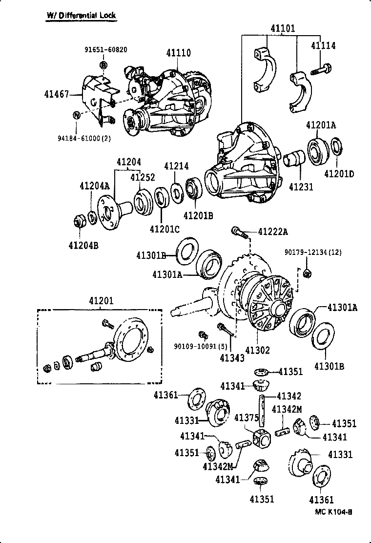 Пневмоблокировка межколесного дифференциала toyota 8 arb