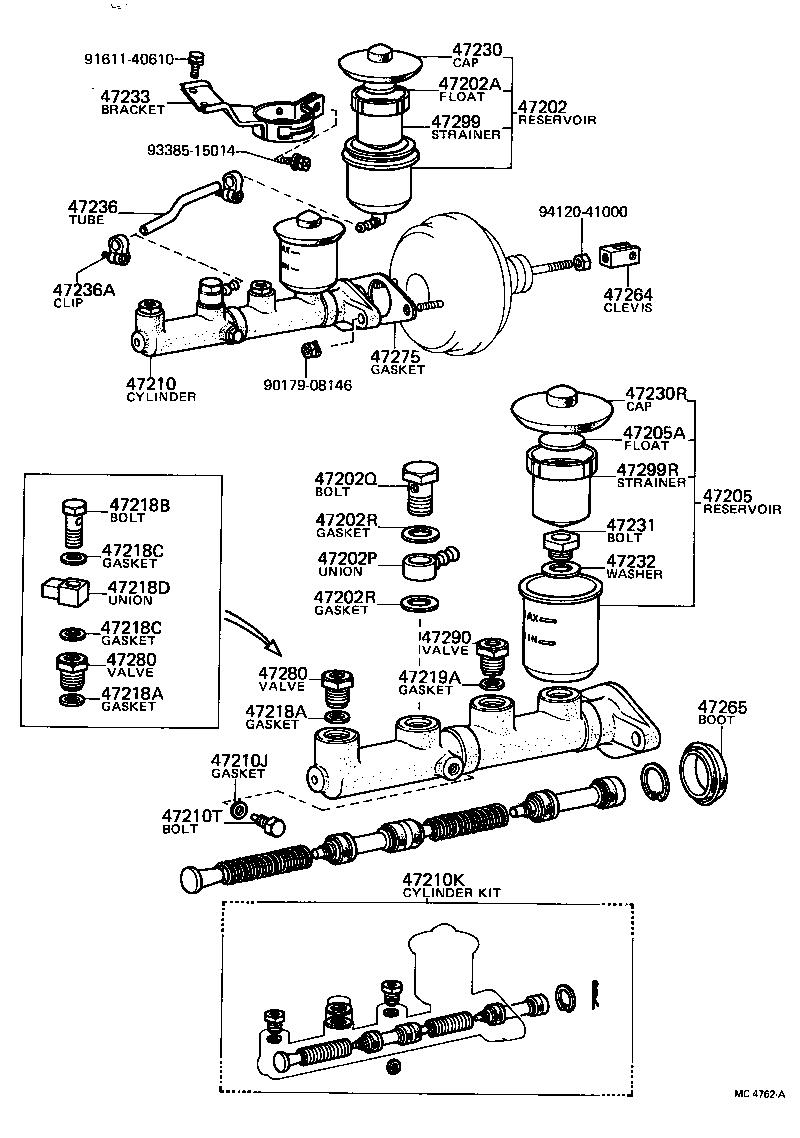 MC4762A toyota corolla truenoke55r ehrq powertrain chassis brake master