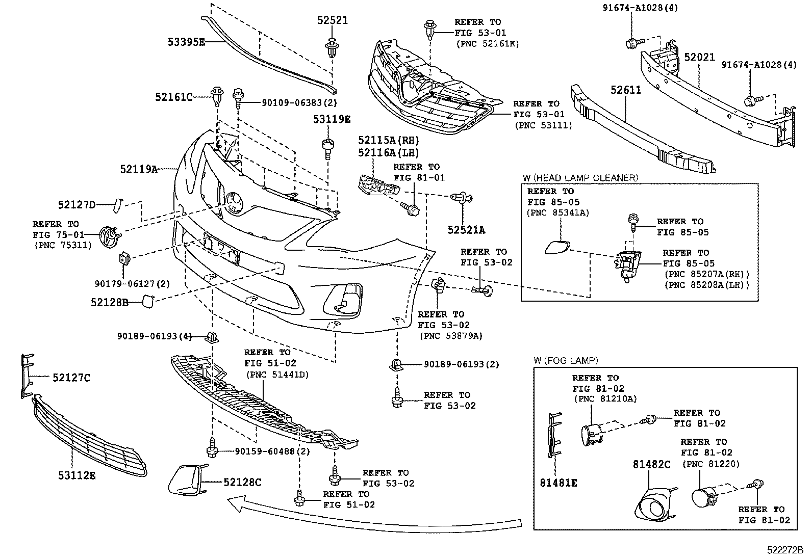 2011 toyota rav4 front bumper parts diagram