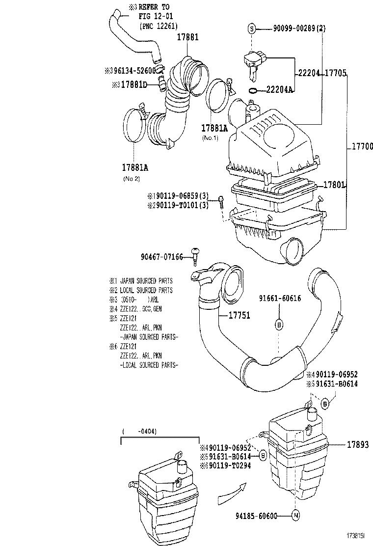 toyota corolla parts list