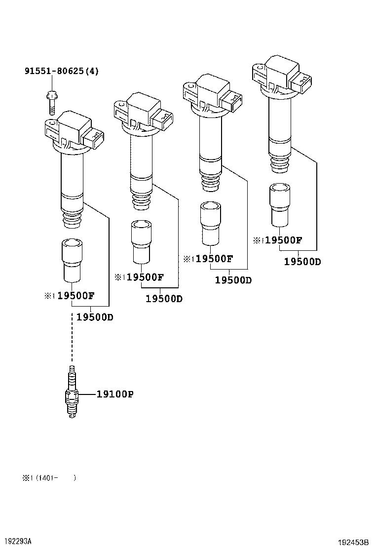 192453B toyota yarisncp92l beprkv tool engine fuel ignition coil spark