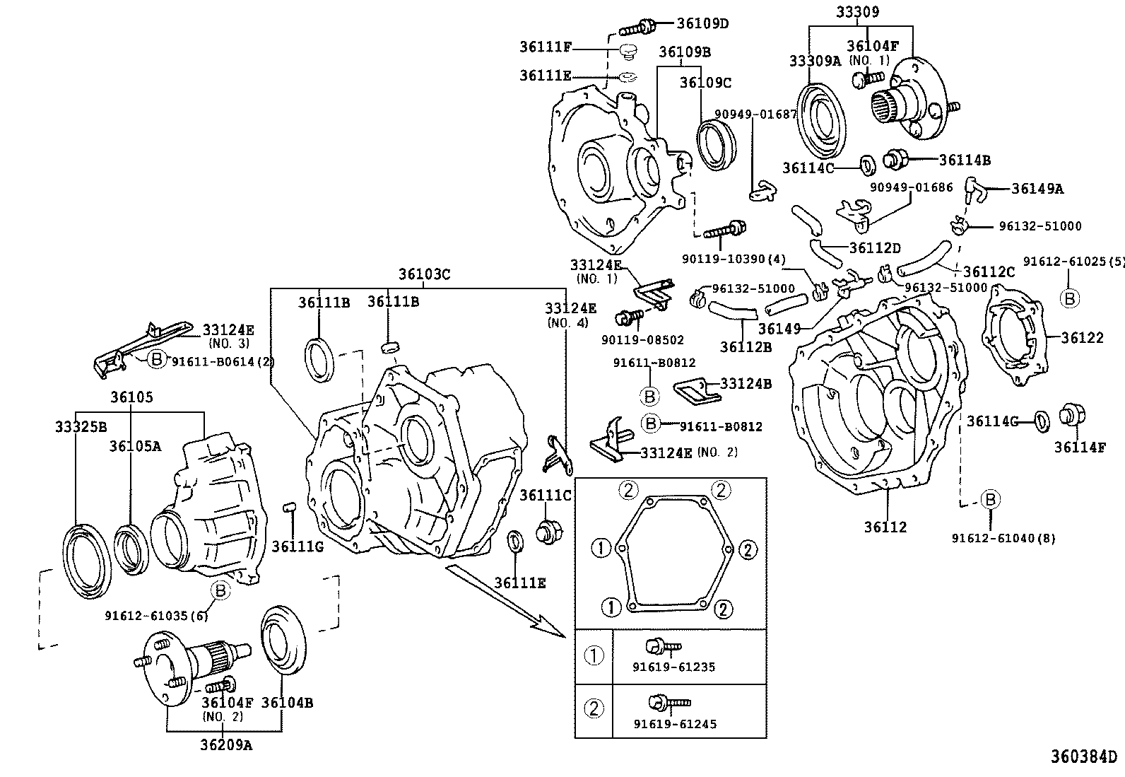 toyota highlander transfer case diagram