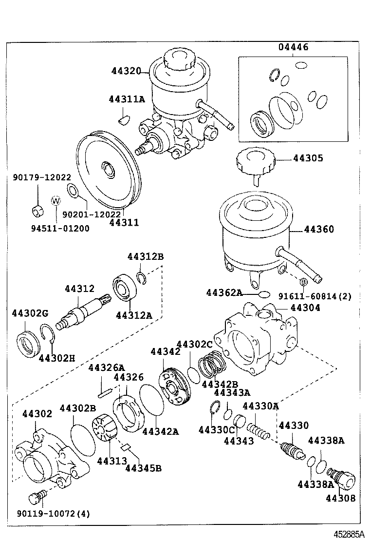 1997 toyota corolla power steering pump diagram