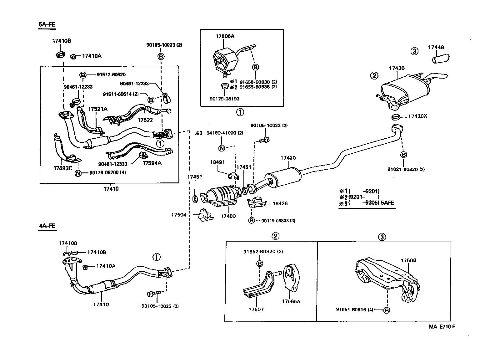 toyota corollaae100-aepek - tool-engine-fuel