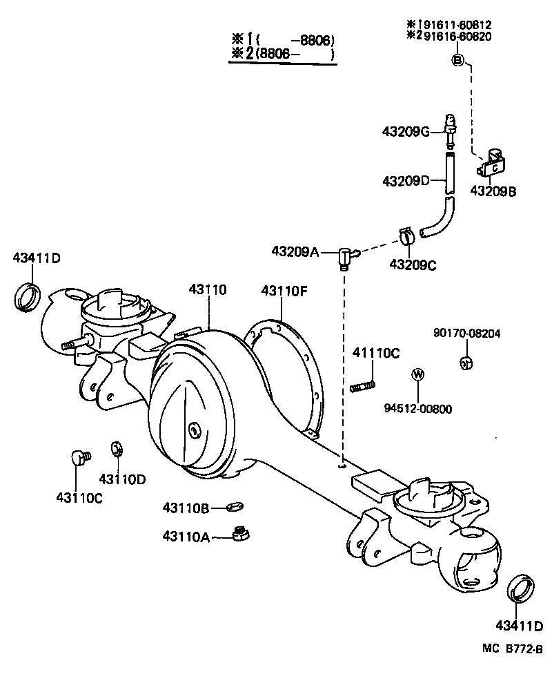 Toyota Land Cruiser 70rj70lv Kr Powertrain Chassis Front Axle Diagram 70 Housing Differential
