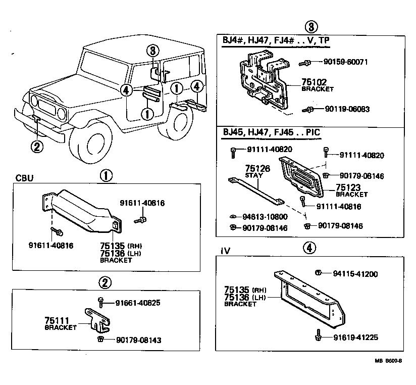 toyota land cruiser 40fj45lp-kw3 - body