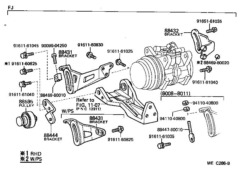 fj40 2f air conditioning compressor bracket location