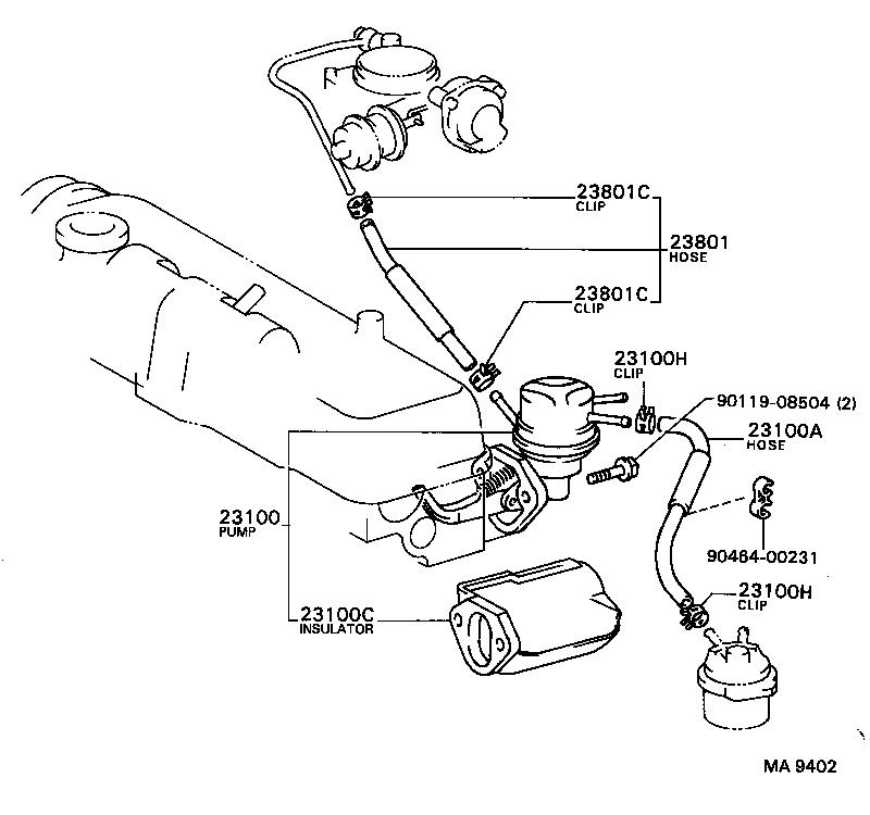 toyota corollaae80-fekds - tool-engine-fuel