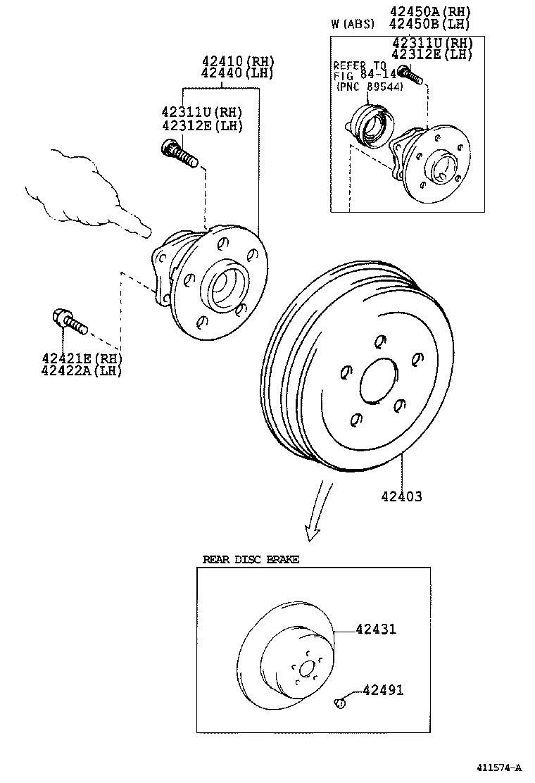 toyota corolla matrix napzze131l-defsfa - powertrain-chassis