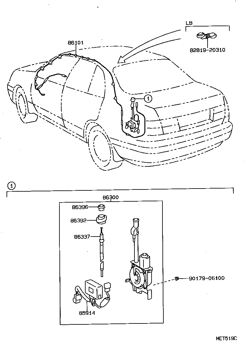 Toyota Carina Est191l Bepnkw Electrical Antenna Japan Parts Eu 1987 Mr2 Wiring Schematic Std Part